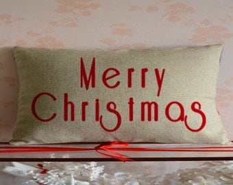 Merry Christmas Pillow,Red Christmas lumbar Pillow cover,Couch sofa decorative cushion case,Happy holiday Throw pillow cover,Christmas gift