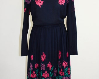 Vintage Dress late 70's New romantics floral and navy