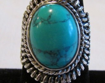 Sterling Silver and Turquoise Ring  Size 7 3/4
