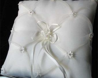 Angelic Chiffon and Satin Ring Bearer Pillow White or Ivory Vintage Bridal Wedding