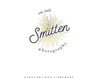 Premade retro photography with gold sunburst, beautiful script text logo,