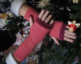 Cashmere Fingerless gloves - Arm warmers - Typing Gloves - Repurposed Cashmere - Typing Gloves