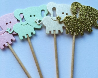 Baby shower cupcake toppers, perfect pastel elephant cupcake toppers