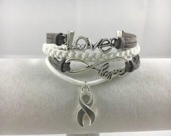 Allergies, Aphasia, Asthma, Brain Cancer/Tumor, Diabetes, Metal Illness & Parkinson's Disease Faux Suede Awareness Multi-Strand Bracelet!