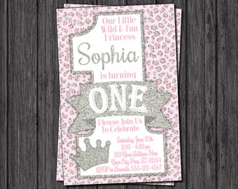 Princess Cheetah First Birthday Invitation - Pink and Silver 1st Birthday Invitations