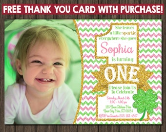 St. Patrick's Day Birthday Invitation with Free Thank You Card - St Patricks Day Invitations - Pink and Green St. Patty's Day