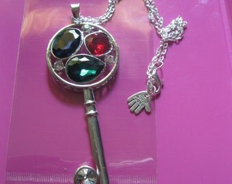 Crystal key necklace key witch sterling Crystal fantasy