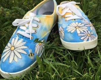 Daisy hand painted shoes