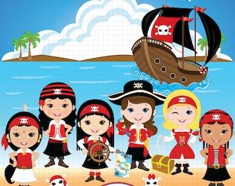 Ethnic diversity Girl Pirate Clipart, Pirate Clip Art, Pirate Digital Clipart, Pirate Girl Clipart, Pirate party Clipart, Pirate birthday