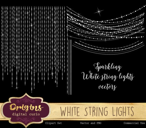 White String Lights - Sparkling Digital Overlay PNG and Vector Fairy Lights, Christmas Wedding ...