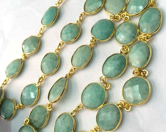 1 foot Amazonite gemstone bezel set connector 24k gold plated station chain loose gemstone jewelry necklace beaded chain