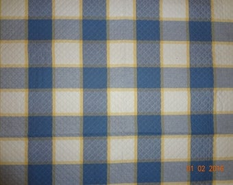"Blue White & Yellow Waffle Print Texture Fabric Remnant - 31""x33"""