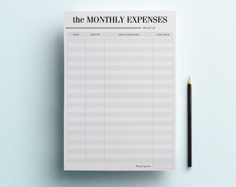 Expense Tracker - Monthly Expenses Planner - Financial Planner, Budget Checklist