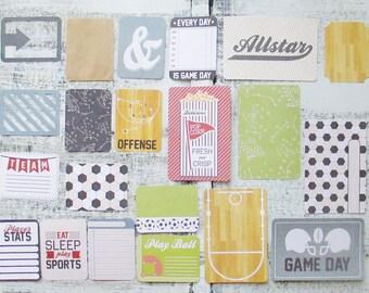 Journaling Cards, Pocket Letter, 4 x 6 Scrapbooking, Project Life, 3 x 4 Filler Cards, Cardstock Sports Ephemera, Basketball Football Soccer