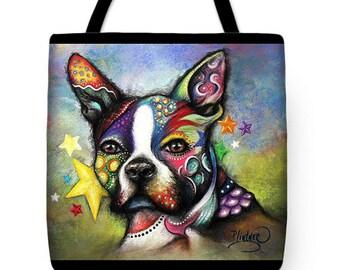 Boston Terrier Tote,Boho Boston Terrier Tote Bag,Boston Terrier Accessories,Boston Terrier Purse, Boston Terrier Canvas Bag, Dog Gifts