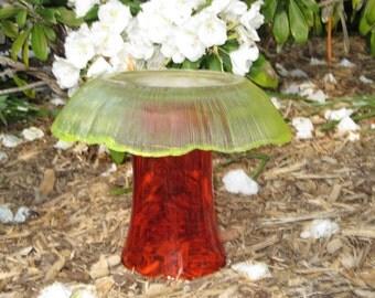 Garden Totem. Glass Mushroon, yard art, Orange, Yellow, vinge glass garden art decoration, whimsical, outdoor decor, upcycled, repurposed