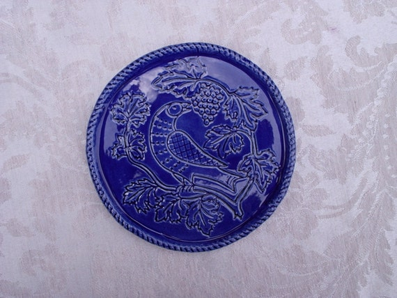 Ceramic Wine Bottle Coaster -- Folk Art Bird and Grapes in Royal Blue Glaze, Wine Accessories