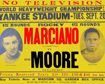 Boxing 1955 Rocky Marciano vs Archie Moore Poster