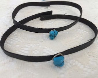 Leather black chocker with turquoise stone