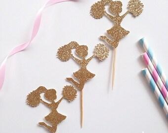 12 x Glitter Cheerleader CupcakeToppers