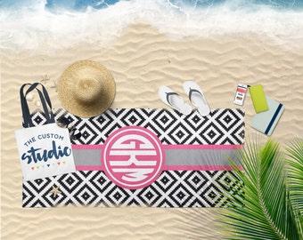 Aztec Diamonds Beach Towel - Monogram Beach Towel - Custom Beach Towel (BT1003)
