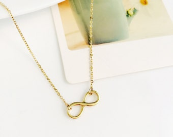 14K solid gold 3D two side plain infinity symbol pendant necklace infinite pendant necklace infinity love INF-N1013