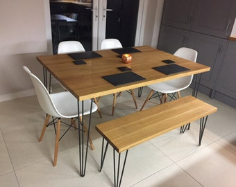 Solid Oak Dining Table,Hairpin Leg Table Solid Oak Kitchen Table,Rustic  Chunky Oak