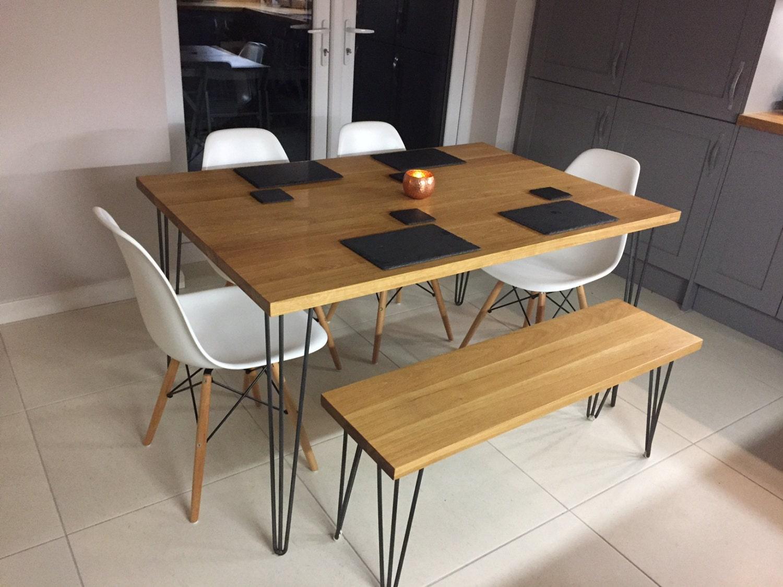 Oak Table Legs ~ Solid oak dining tablehairpin leg table kitchen