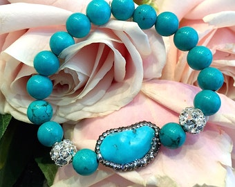 Nugget Turquoise and zircon bracelet