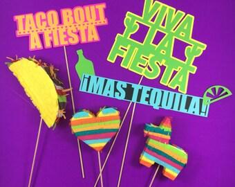 Mexican Fiesta Wedding Photo Booth Props, Fiesta Party Prop, Photo Booth, Cinco de Mayo, Piñatas, Decorations, Bachelorette, Set of 6 Props