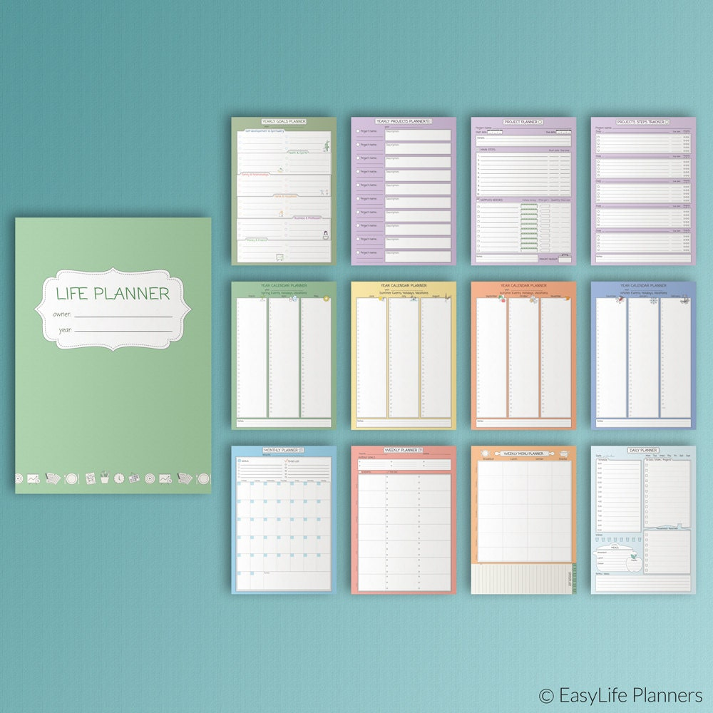 LIFE PLANNER Printable Household Binder Kit PDF A4 13 Pages