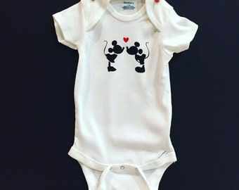 Minnie Mouse and Mickey Mouse Disney love baby onesie