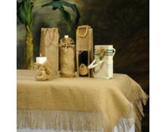 """Natural Burlap or cream white Burlap  60"""" x 120"""" Tablecloth or Overlay With Fringe"""