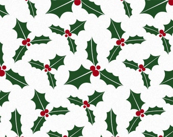 Holiday Holly Berry on White Christmas Tissue Paper #831 - 10 Large sheets