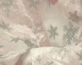 """Pearl Silver Snowflake Christmas Tissue Paper / Gift Wrap #807  -- 10 Large sheets ....20"""" x 30"""""""