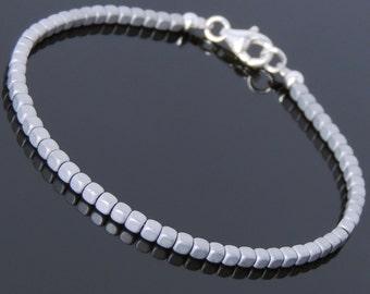 Men's Women Matte Hematite 925 Sterling Silver Bracelet 2mm Cube Beads Gemstone DiyNotion Handmade BR716
