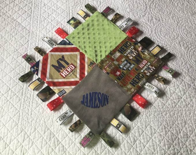 "Military Combo Baby Sensory Ribbon Security Blanket Lovey 16""x16""  Army Navy Air Force Marines Personalized"