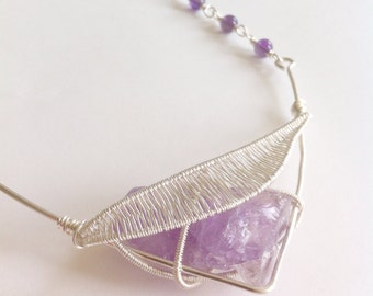 Violet Statement Necklace 'Connect the Dots' ~ Amethyst ~ Rough Crystal ~ Wire Wrapping ~ OOAK