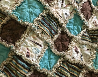 """Blue and Brown, Feathers and Stripes Rag Quilt 