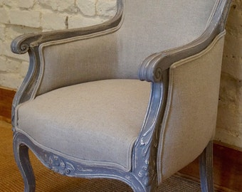 Vintage French Louis XV Bergere Upholstered Armchair - Shabby Chic