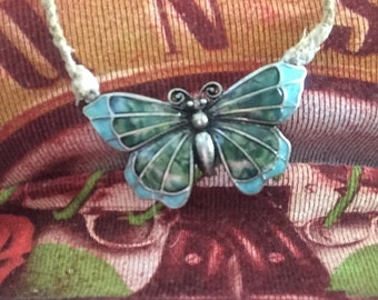 Butterfly Pendant Necklace on Braided Hemp