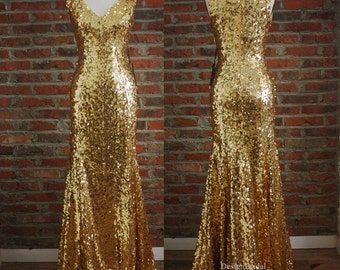 Gold Dress,Long Formal Dresses,V Neck Sexy Sequin Dress,Elegant Women Evening Dress,2016 New Sequin Dresses Sleeveless,Elegant Formal Gowns
