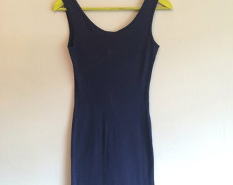 90s navy body con dress