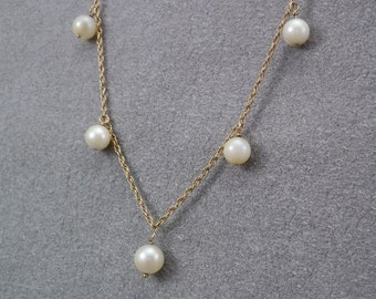 "Cultured Pearls, 14K Rope Chain, Necklace, 1950s, Add A Pearl, Women's, Young Girl's Necklace, 14K Gold Rope Chain, 15"" Long, Gift for Her"