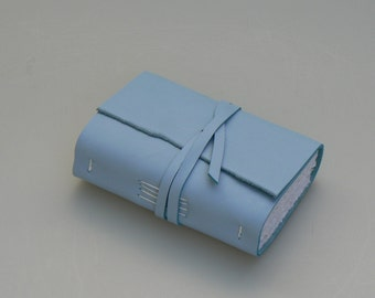 Handmade Leather Book / Pocketbook (small size) - Pale/Sky Blue