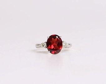 Garnet Diamond Ring in 14k white gold