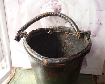Antique 18th C Leather fire bucket. Dated 1776