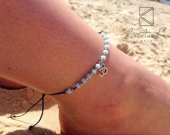Light Blue Anklet | Ankle Bracelet | Silver Anklet | Foot Jewelry | Foot Bracelet | Summer Jewelry | Beach Jewelry | Crystal Anklet