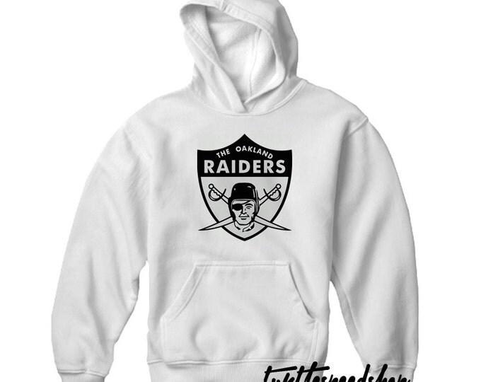 Oakland Raiders Vintage Style Logo Hooded Sweatshirt White Black Carr Cooper