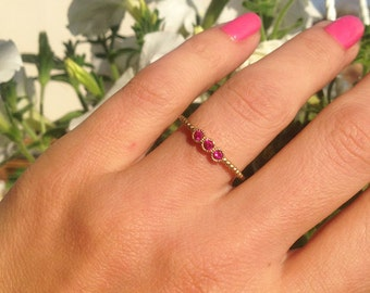 20% off- SALE!!! Triple Gemstones Ring - Ruby ring - Stackable Ring - Gold Ring -  Fuchsia Ring - Tiny Ring - July Birthstone